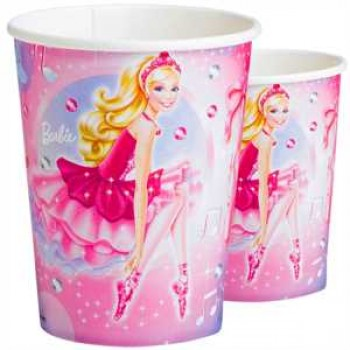 Barbie Pink Shoes Partybecher Pappe 266ml 8er