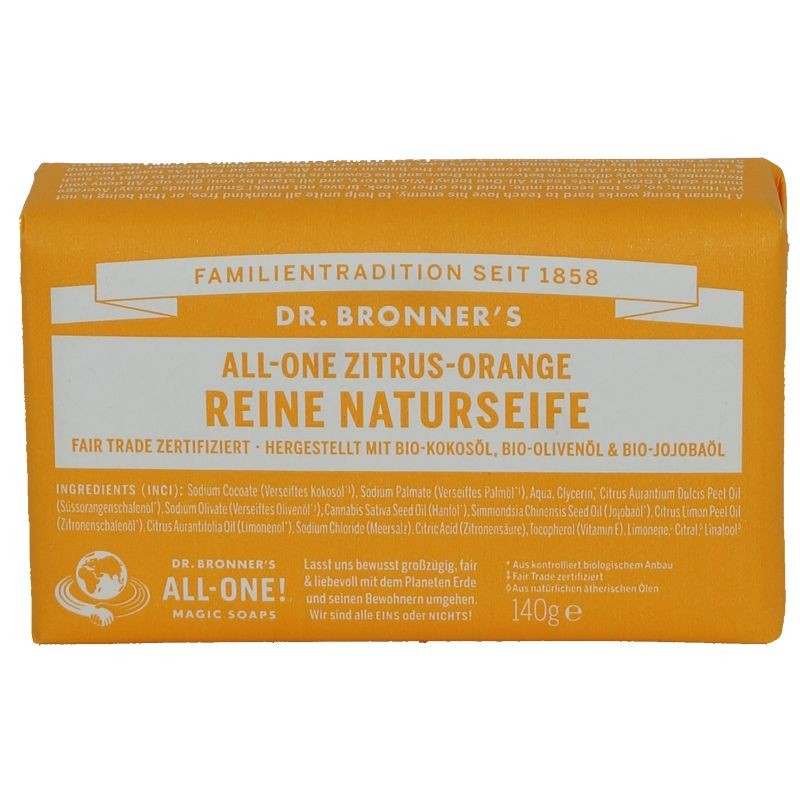 Dr. Bronner's Seifenblock Vegan 140g Zitrus Orange