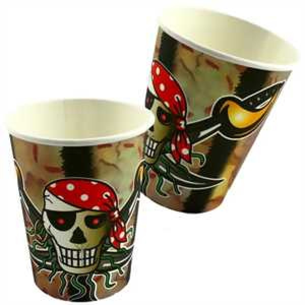 Red Pirate Partybecher Pappe 250ml 8er